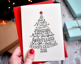 Typographic Christmas Shapes Card Pack | 10 cards