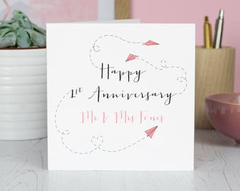 First Wedding Anniversary Card | Personalised | Paper Planes | Paper Anniversary | 1st Anniversary