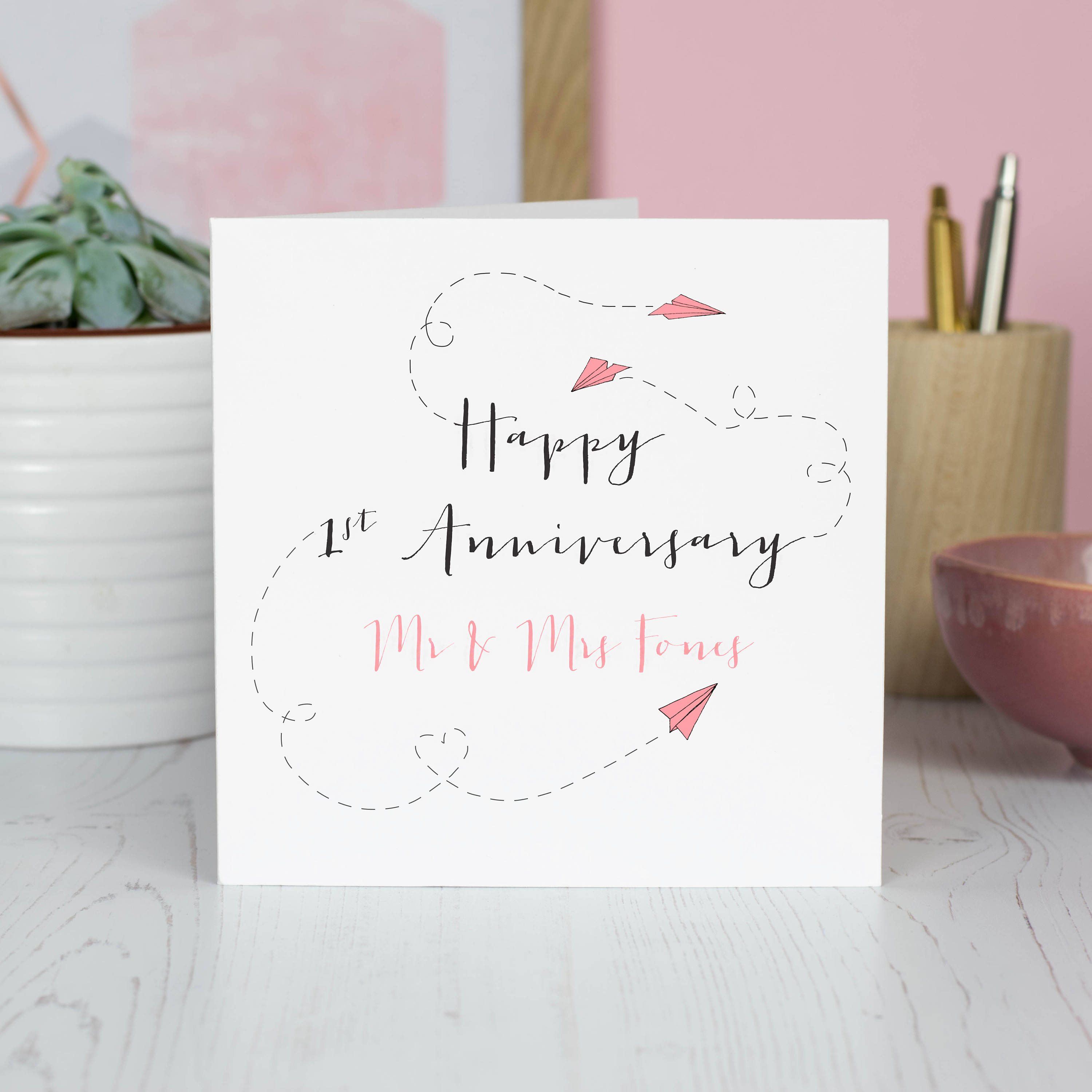 First Wedding Anniversary Card Personalised Paper Planes Etsy