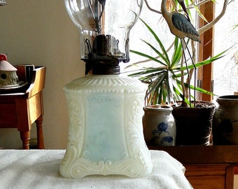 Antique Early 1900/'s Plain Pattern Oil Lamp-Ready to Use-Vintage 1910