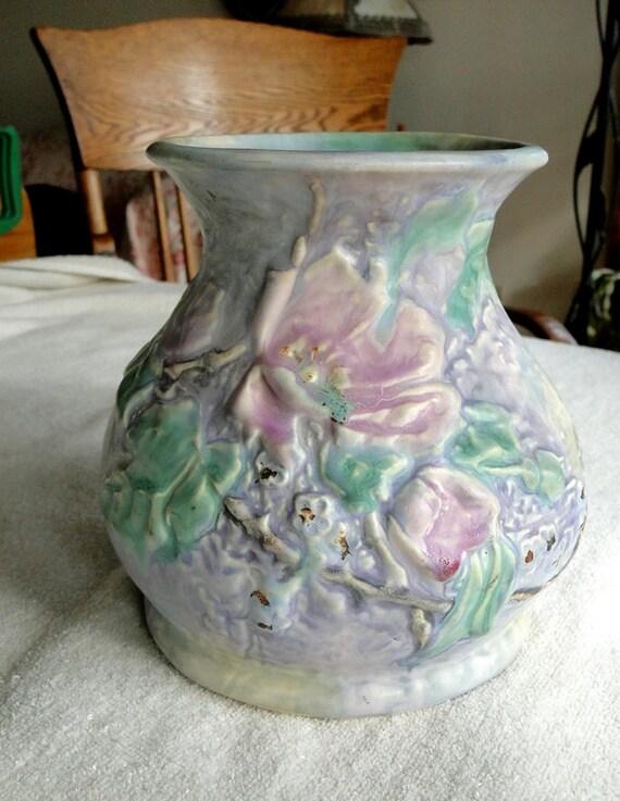 Weller Silvertone Floral Vase Vintage 1920s Full Kiln Ink Etsy