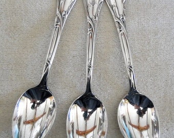 3 Reed and Barton Silverplated MODERN ART Pattern Souvenir Spoons monogrammed Chicago Beach Hotel-Vintage 1904