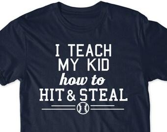 93abbce7c Father's Day Gift Idea Funny Baseball Shirt Dad Mom T-Shirt Husband T Shirt  Tees Mens Present Daddy Sports Son Daughter Softball Hardball