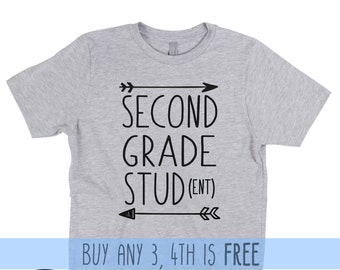 Second Grade Shirt Boy T-Shirt 2nd Grade First Day of School  Back to School Outfit Clothes  Graduation Funny Stud Student Tribe Kid Hello