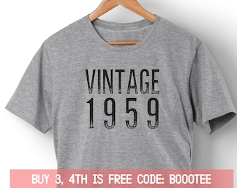 a08502875 60th Birthday Shirt Funny Tshirt T-Shirt T Tee Bday Men Women Ladies Gift  Sixty af Turning 60 years old Husband Wife Vintage 1959 Made in