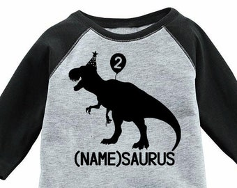 2nd Birthday Shirt Custom Raglan Dinosaur Kids Toddler T Tee Second Bday Turning Two Years Old Name Son Daughter Party Girl Boy 2