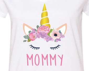 52d51536 Unicorn Shirt Cute Gift for Mom Matching T-Shirt T Shirt Tees Ladies Little  Girl Women Kid Baby Shower Mama Birthday Party Outfit Top Mommy