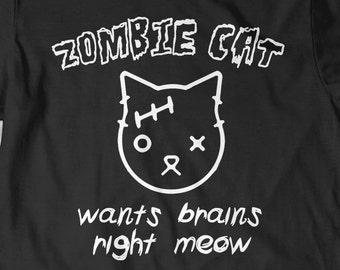 Funny Cute Cat Shirt Tee Kitten Lover T-Shirt T Tee Mens Women Ladies Kitty Birthday Gift Present Adoption Crazy Cat Lady Zombie Shirt Meow