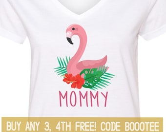 40dc59d6 Flamingo Mommy Shirt Cute Funny Matching T-Shirt T Shirt Tees Ladies Little  Girl Women Kid Baby Shower Mama Birthday Party Outfit Top Mommy