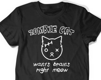 0744db22e Funny Cute Cat Shirt Tee Kitten Lover T-Shirt T Tee Mens Women Ladies Kitty  Birthday Gift Present Adoption Crazy Cat Lady Zombie Shirt Meow