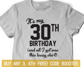 d7eea428c92 30th Birthday Shirt Funny Tshirt T-Shirt T Tee Bday Men Women Ladies Gift  Thirty af Turning 30 years old Husband Wife 1989 Vintage Made in