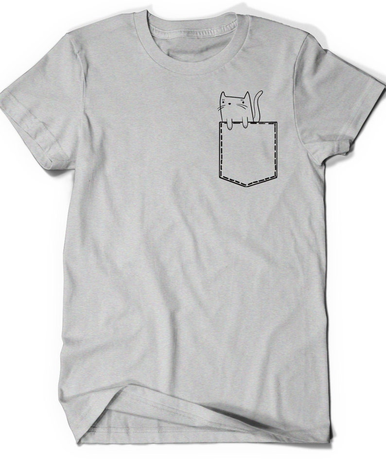 ca446bea2c4 Funny Shirt Cat Shirt T-Shirt Kitty Pocket Kitten T Shirt Tee