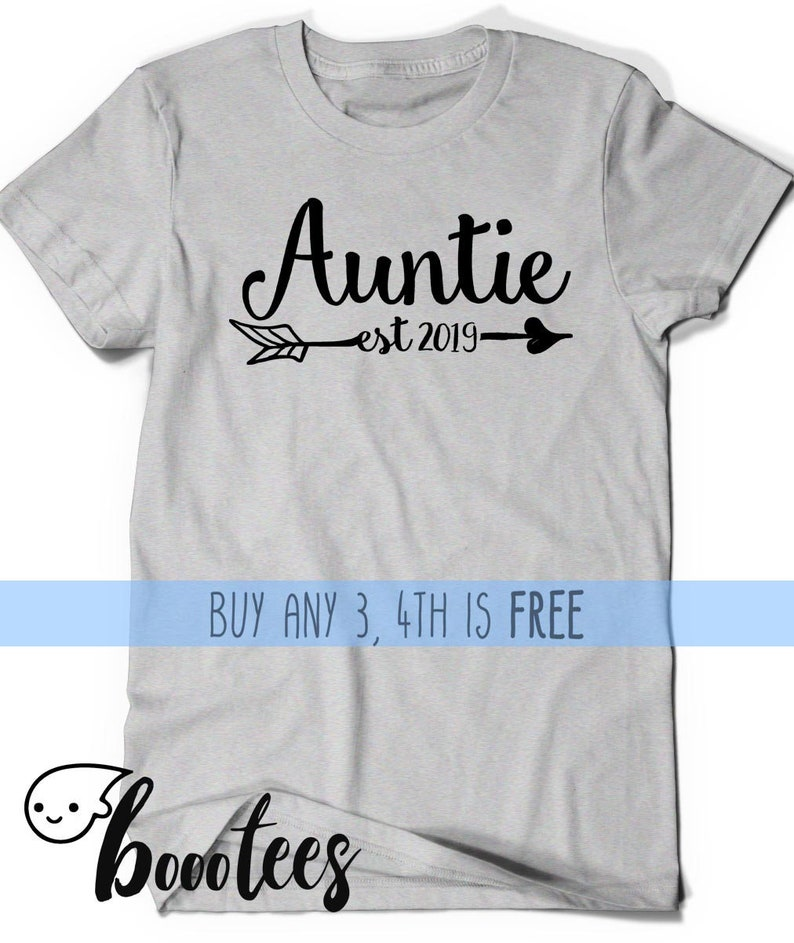 13cd9df766934 Auntie Shirt Est Since 2019 Shirt T-shirt Aunt to be Gift Sister Womens  Ladies Present Pregnancy Announcement Baby Shower Reveal Party 2019