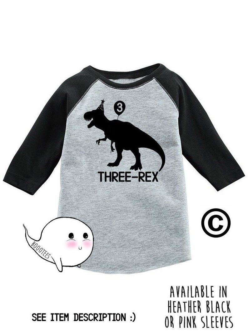 3rd Birthday Shirt Custom Raglan Dinosaur Kids Toddler T