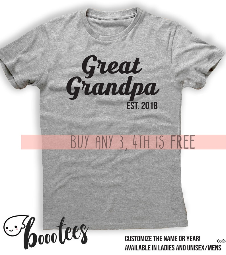 ad8eb886d1813 Gift For Great Grandpa Custom Father Pop Shirt Grampy t-Shirt Tee Men Women  Ladies Pregnancy Announcement Personalized Est 2018 Since Papa
