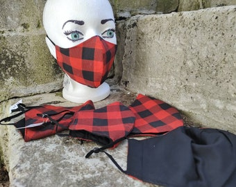Red Buffalo Check Plaid cotton cloth mask with filter pocket and adjustable straps