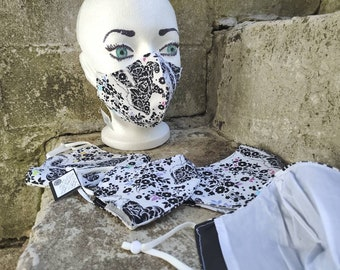 Floral Rainbow Skunk cotton cloth mask with filter pocket and adjustable straps