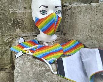 Pride Stripes cotton cloth mask with filter pocket and adjustable straps