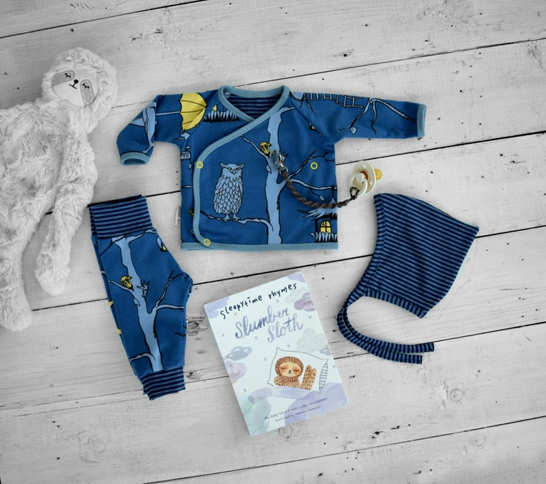 56c1b49872e Newborn Baby Boy Coming Home Outfit MIDNIGHT CRITTERS organic