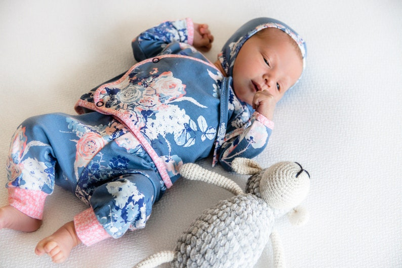 Baby Mädchen Kommenden Hause Outfit Alte Blue Floral Baby Etsy