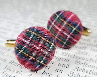 stewart dress plaid cufflinks groom cufflinks groomsmen cufflinks red plaid cufflinks tartan cufflinks mens cufflink and tie tack set