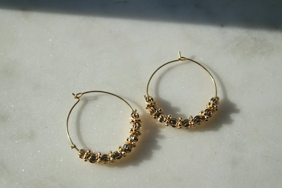 Gold Hoop Earrings Bohemian Gold Earrings Indian Earrings Etsy