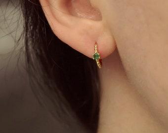 Golden CZ Creole * Gold CZ Creole * Sterling Silver 925 * Minimalist Earrings * Gold Earrings * Hoop earrings Gold