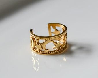 Ear Cuff Gold * Dainty Ear Cuff gold * Sterling Silver Ear Cuff * Moon and Star Ear Cuff * Minimalist Jewelry * Gold Jewelry