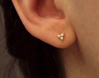 Tiny CZ Earrings Gold * Golden CZ Earrings * Minimalist Earrings * Silver Earrings * Ear studs Silver