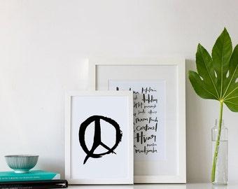 Peace Print - Peace Sign Print - Monochrome Modern Print - Black and White Print - Print for the Home