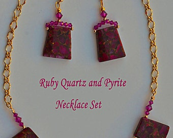 Ruby Quartz and Pyrite with gold filled chain and beads