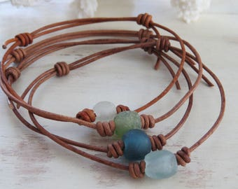 Sea Glass and Leather Adjustable Anklet or Bracelet, Beach Glass, Beach Jewelry ~ by Hello Sweetie Handmade