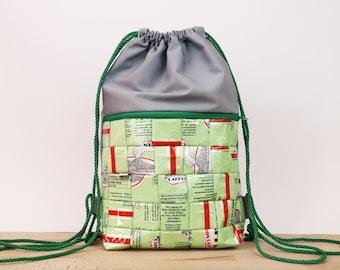 Sustainable Gym Bag, recycled Backpack, vegan bag, draw string bag, zero waste, reused coffee bags