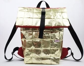 Small Backpack, recycled coffee bags, vegan Backpack, Zero Waste, golden Backpack, sustainable Backpack for every day