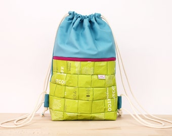 Gym Bag, recycled Backpack, vegan bag, sustainable draw string bag, zero waste, reused coffee bags, school bag, back to school