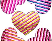 Heart Window Clings Stained Glass Color Suncatcher Decorations Striped Sparkle Glitter Design Set of 5 Size 4.4 quot