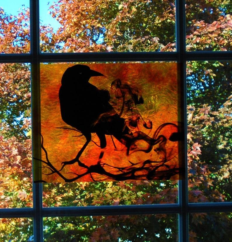 Rabe Fenster Cling Glasmalerei Farbe schwarzer Vogel mit ...