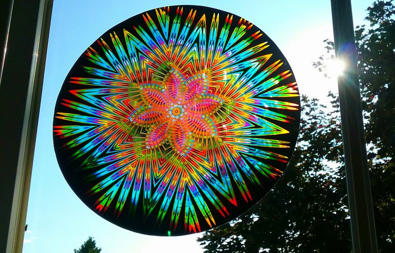 Native American Mandala Window Cling ~ Stained Glass Color ~ Suncatcher ~ 8 or 10.8 Round Star Flower ~ Beautiful Indian Window Art