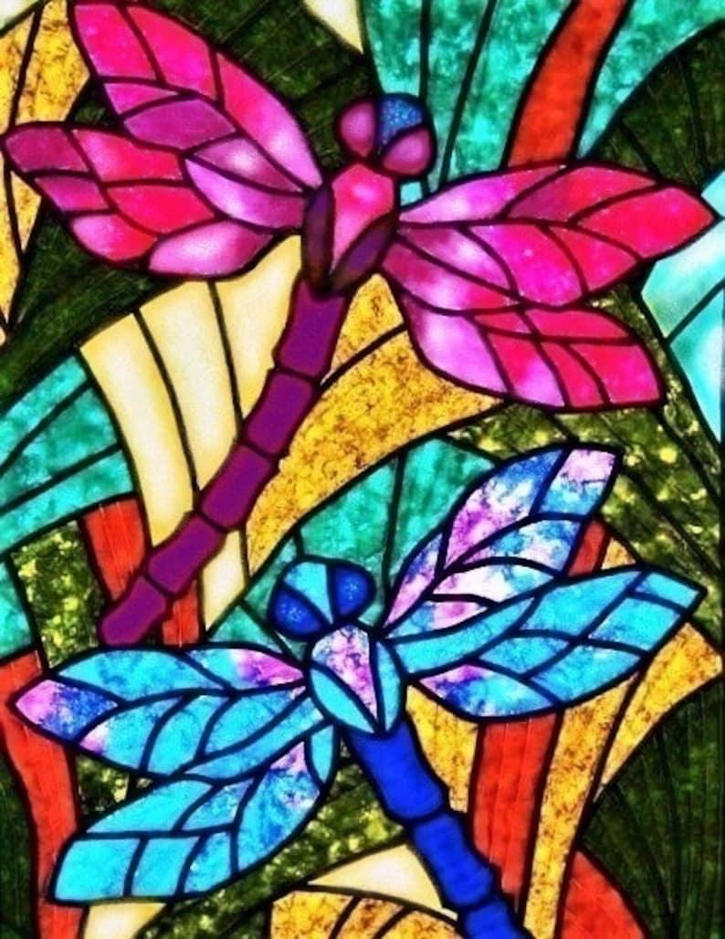 Faux Stained Glass Dragonfly 3D Window Cling ~ Sparkling Suncatcher 7.8x10.2 Vinyl Window Decal ~ Dragonflies Art Print ~ Window Decoration