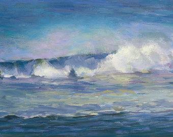Beach Wave Art. Ocean Waves. Ocean Painting. Cottage Decor. Cottage Art. Beach Waves. Ocean Decor. Beach Painting. Ocean Wave Art. Enyi Lu