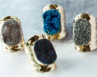 Druzy Statement Ring, Real Stone Ring, Party Ring, Statement Jewellery, Natural Stone Ring, Cocktail Ring, Druzy Ring, Going out Jewellery