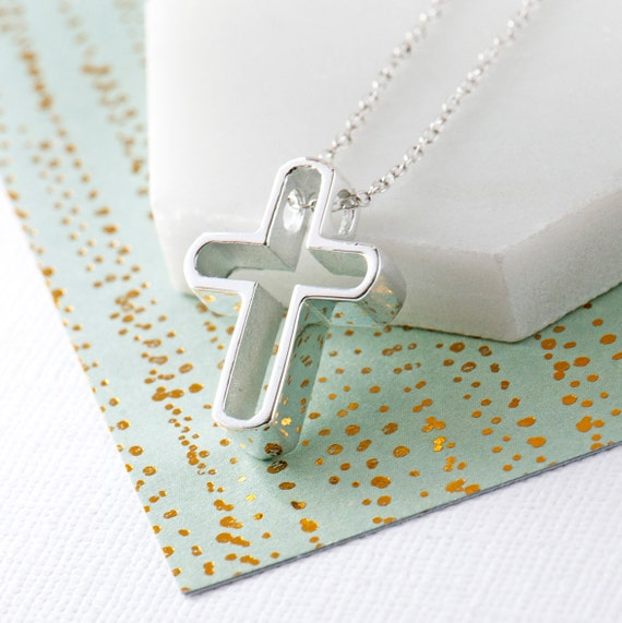925 sterling silver Cross chain simple faith necklace boutique jewelry holiday gift