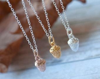 Acorn Silver Necklace, Acorn Charm, Gold Acorn Necklace, Rose Gold Acorn Necklace, Inspiration Necklace, Acorn Jewellery, Acorn Jewelry,