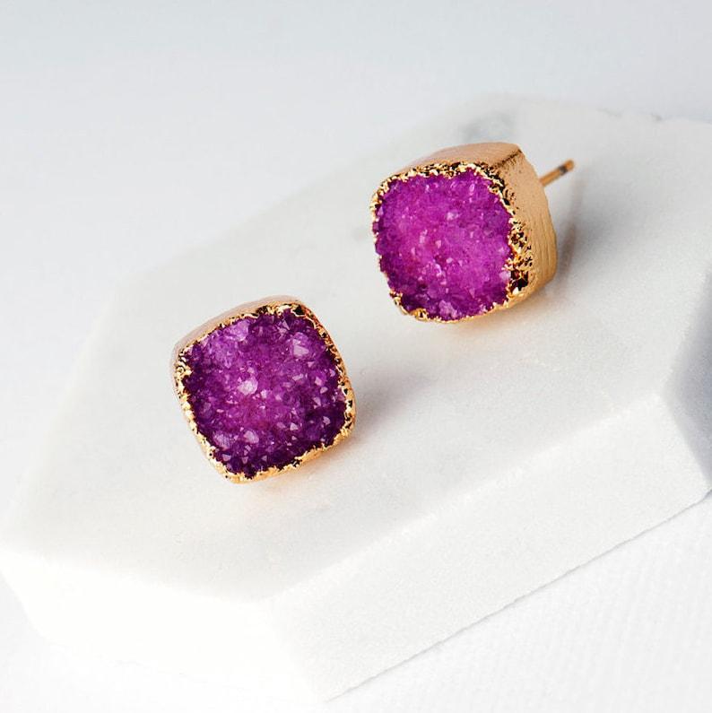 Pink Druzy Raw Stone Earrings