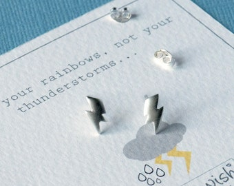 Thunderbolt Sterling Silver Studs, Thunderbolt Matte Stud Earrings, Weather Jewellery, Weather Jewelry, Thunder Bolt Dainty Studs, Weather