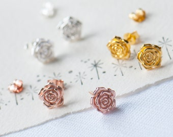 Sterling Silver Rose Stud Earring, Gold Rose Studs, Rose Gold Rose Earrings, Dainty Flower Stud Earrings, English Rose Gift, Bridesmaid Gift