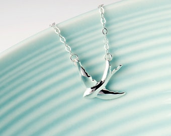 Flying Swallow Necklace In Sterling Silver, Ornithologist Jewellery,  Bird Lover Necklace, Silver Swooping Swallow Necklace, Choker Necklace