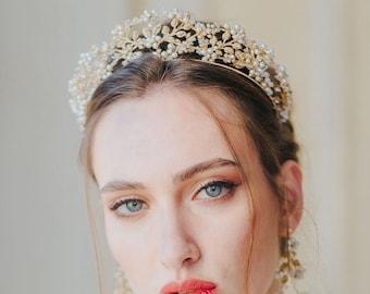 Angelica | Bridal Crown, Flower Tiara, Statement Tiara, Gold Crown, Floral Tiara, JONIDA RIPANI - Made in Italy