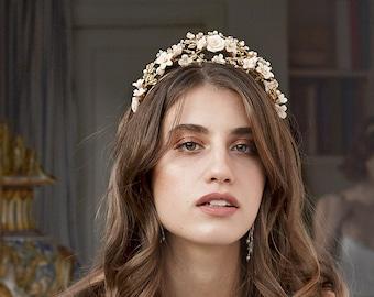 Aurora | Bridal Crown, Flower Tiara, Statement Tiara, Gold Crown, Floral Tiara, JONIDA RIPANI - Made in Italy