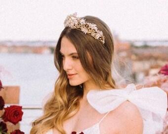 Burano | Bridal Crown, Flower Tiara, Statement Tiara, Gold Crown, Floral Tiara, JONIDA RIPANI - Made in Italy